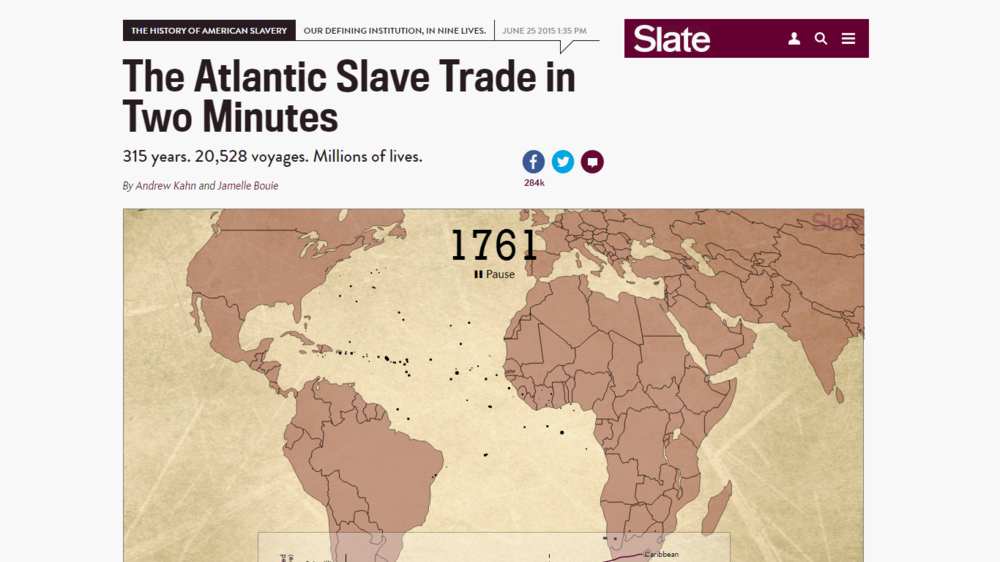 A two-minute animation of more than 20,000 slave voyages over three centuries