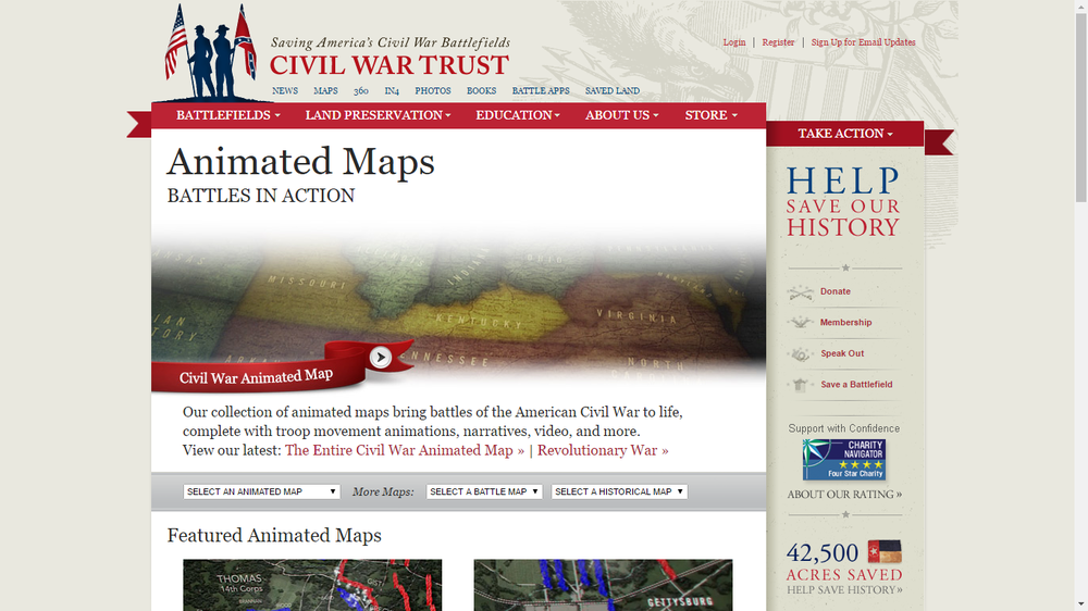 Civil War maps complete with troop movement animations, narratives, video, and more