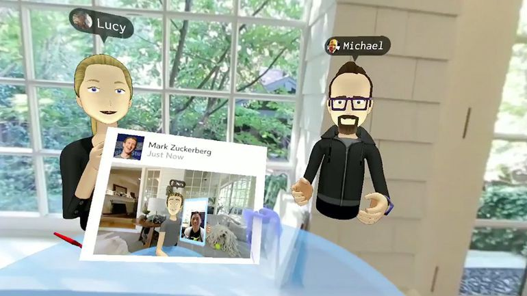 CEO of Facebook, Mark Zuckerberg, in VR with two team members