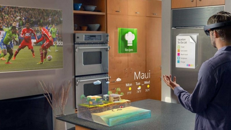 Example of a mixed environment with AR by Microsoft HoloLens