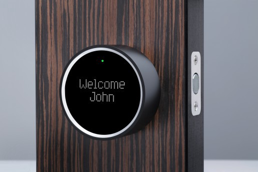 Example of a smart lock with display and camera for your front door