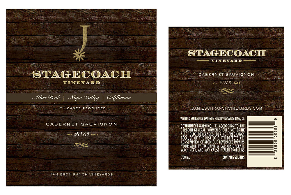 Stagecoach Vineyards label design, created for Jamieson Ranch Vineyards