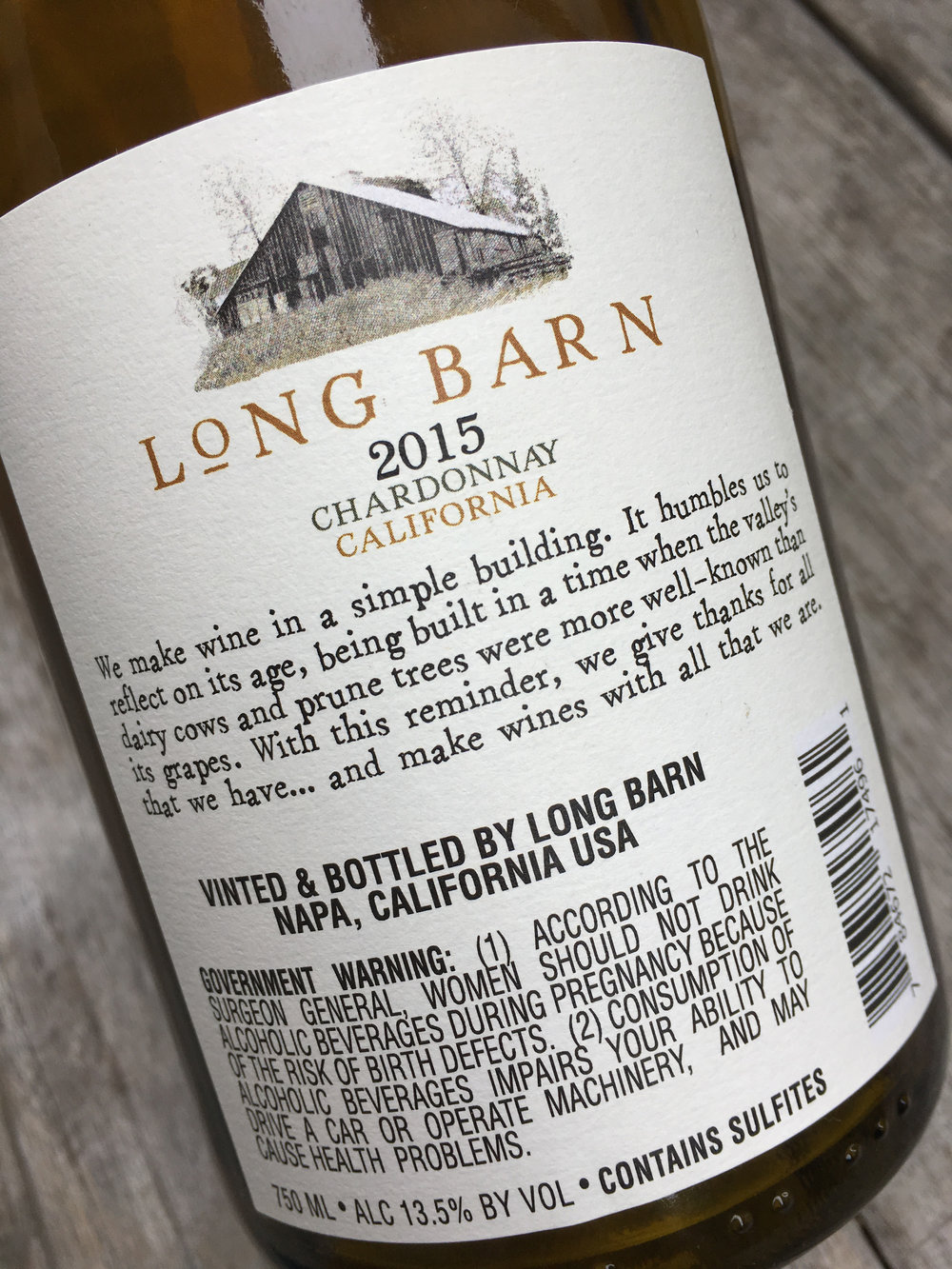 Long Barn Chardonnay(back): package design