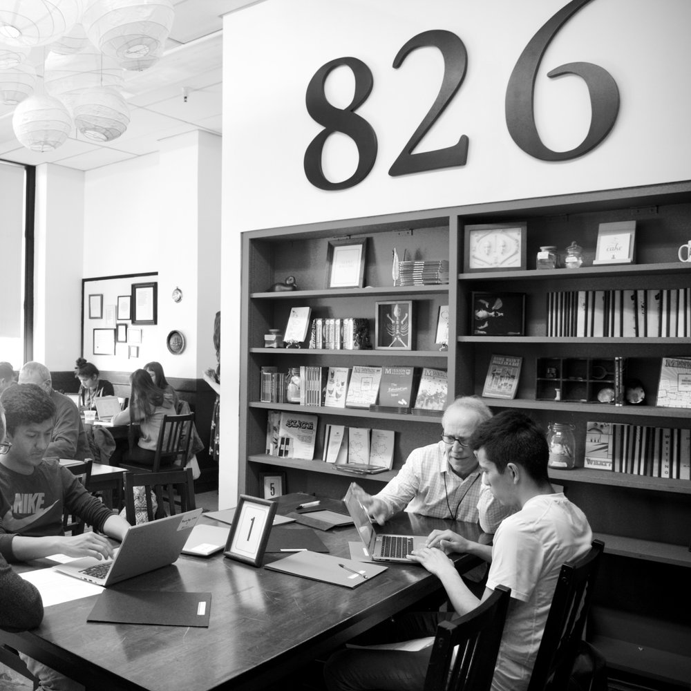 The 826 Valencia writing room at Mission High School in San Francisco, California.