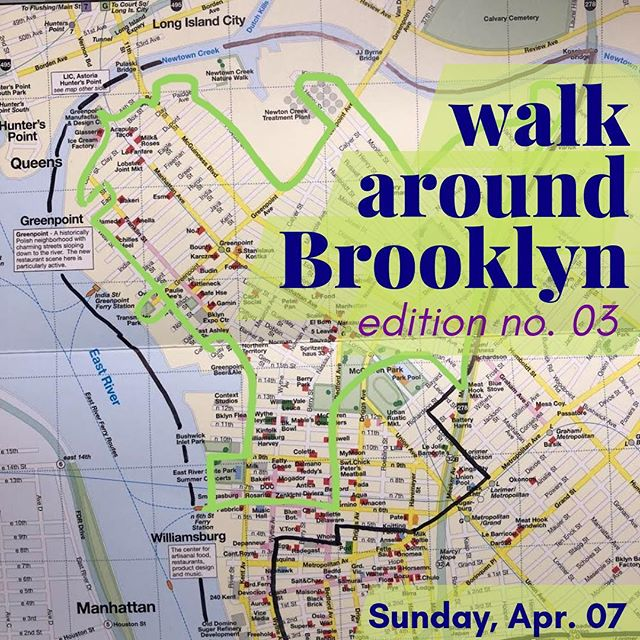 We're out walking! Come join us. We are currently heading counter clockwise (west and then south) from the top of Greenpoint. Our destination is where we started this morning: North Williamsburg ferry. #walkaroundbrooklyn