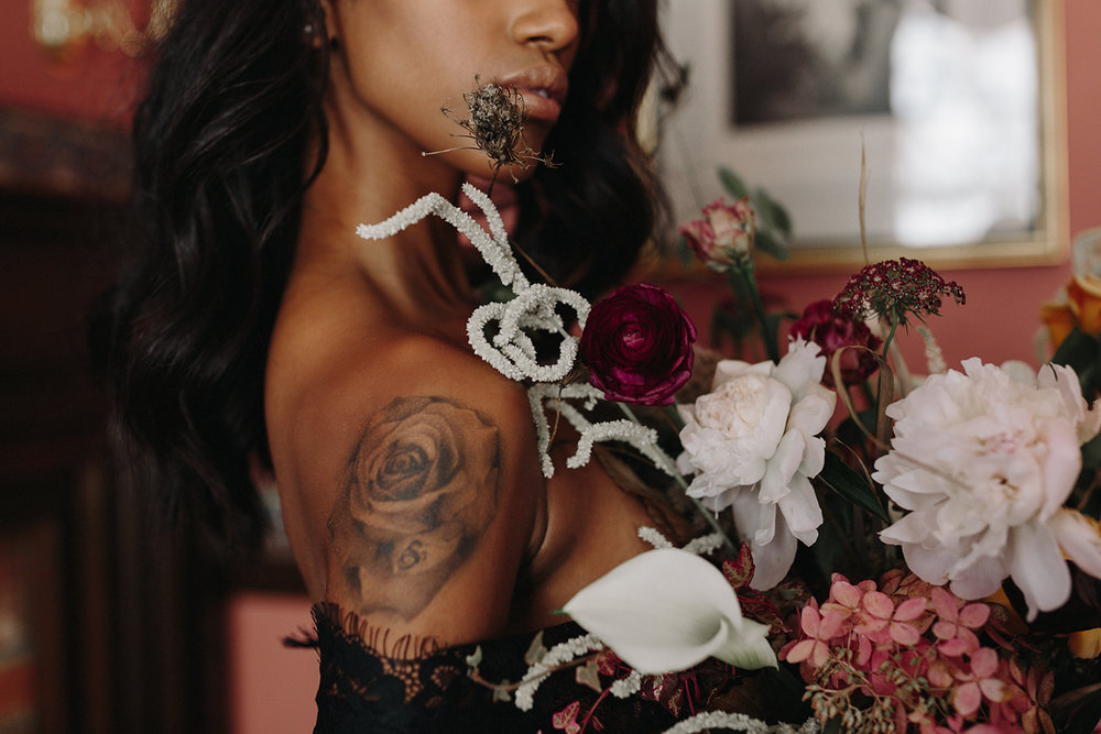 ryanne-hollies-photography-campbell-house-stylized-shoot-bedroom-intimate-boudoir-moody-intimate-vintage-inspired-bridal-boudoir-bridal-robe-by-cataflo-intimate-portrait-nude-classic-bouquet-tattooed-bride.jpg