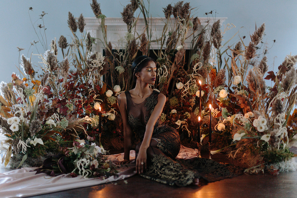 ryanne-hollies-photography-campbell-house-stylized-shoot-ballroom-floral-floor-alter-black-bride-narces-gown-beyonce-fine-art-artistic-creative-portrait-stunning-model-candlelight-inspiration-wedding-witchcraft-badass.jpg