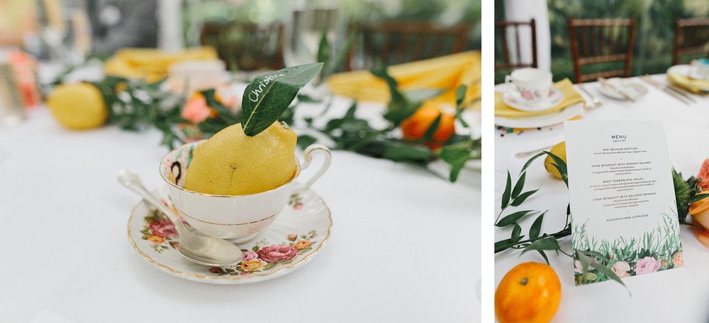 Graydon-Hall-Manor-Wedding-Toronto's-Best-Wedding-Photography-Ryanne-Hollies-Intimate-Small-Modern-Colourful-brunch-wedding-reception-bride-and-groom-mixed-wedding-muslin-candian-brunch-details-teacup-lemon-name-cards.jpg