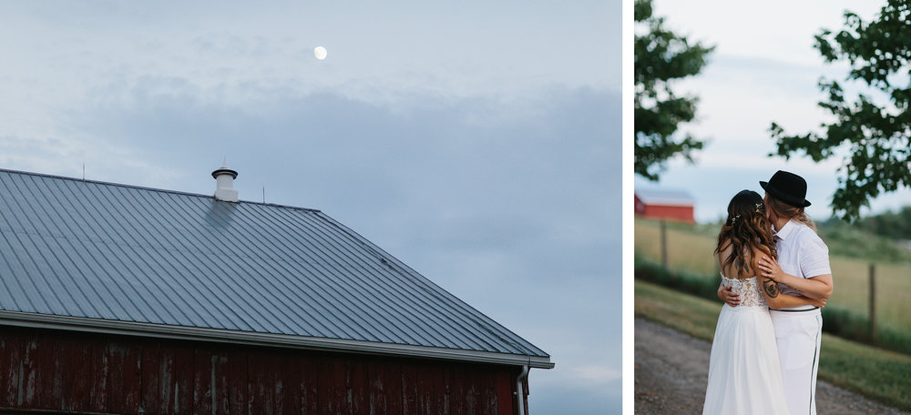 cambium-farms-wedding-ryanne-hollies-photography-gay-wedding-lgbtq-trendy-cool-badass-junebug-weddings-inspiration-wedding-reception-in-a-barn-portraits-at-sunset-bride-and-bride-moonlit-hug.jpg