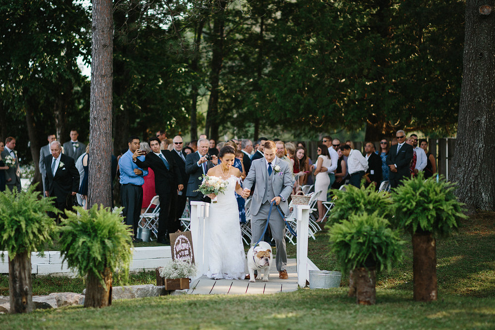 muskoka-wedding-photographer-toronto-wedding-photography-hidden-valley-resort-documentary-photojournalistic-fine-art-wedding-photography-lakeside-ceremony-cottage-country-bride-and-groom-recessional-with-their-bulldog-puppy-funny-candid.jpg