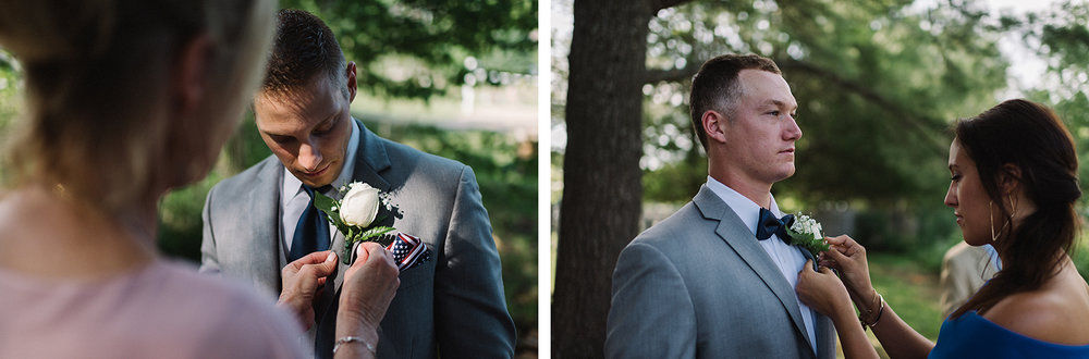 13-muskoka-wedding-photographer-toronto-wedding-photography-hidden-valley-resort-documentary-photojournalistic-ceremony-mom-putting-on-boutineers-from-groom-memories-white-rose.jpg