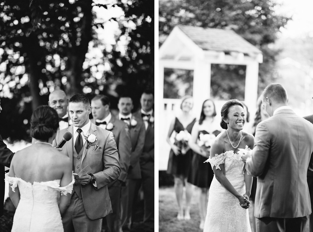 18-muskoka-wedding-photographer-toronto-wedding-photography-hidden-valley-resort-documentary-photojournalistic-fine-art-wedding-photography-lakeside-ceremony-cottage-country-bride-and-groom-saying-vows-groom-emotional-bw.jpg