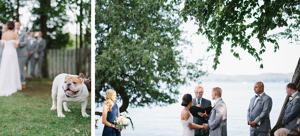 21-toronto-wedding-photographers-hidden-valley-resort-ryanne-hollies-photography-documentary-photojournalistic-fine-art-wedding-photography-lakeside-ceremony-cottage-country-bride-and-groom-vows-dog-watching-bulldog.jpg