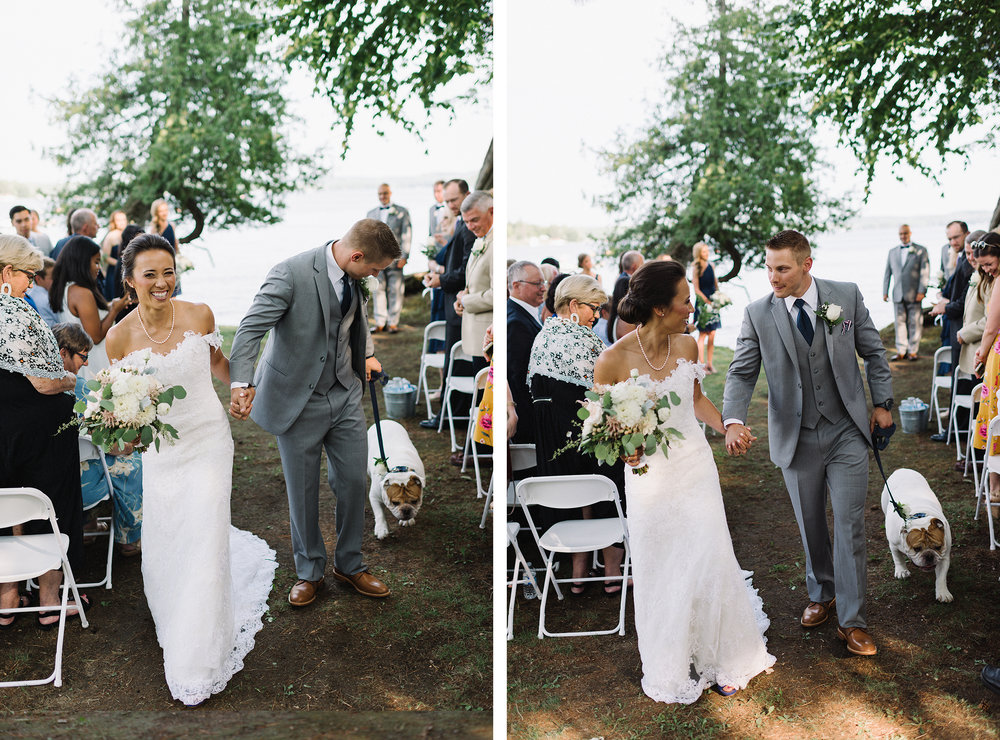 24-toronto-wedding-photographers-hidden-valley-resort-ryanne-hollies-photography-documentary-photojournalistic-fine-art-wedding-photography-lakeside-ceremony-cottage-country-bride-and-groom-just-married-epic-cheering-recessional-with-dog.jpg