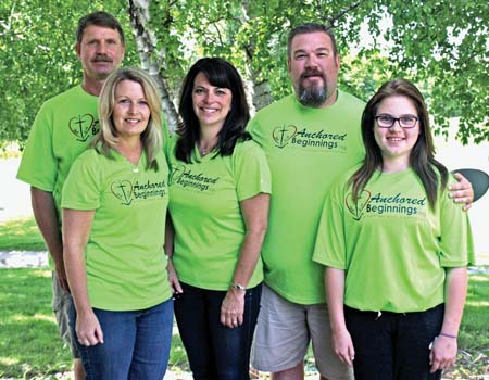 Troy Schaaf, Karen Schaaf, Rachel Krueger, Trent Elder, and Maisy Elder are some of the people who have helped make Anchored Beginnings what it is today. Not pictured are team members Bill Torola and Kaileen Schaaf.