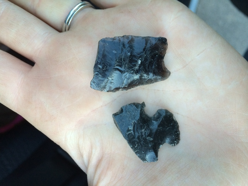This photo shows two artifacts found at the Jenny Lake site. These projectile points are made of obsidian, a volcanic glass easily accessible in Teton and great for flintknapping.