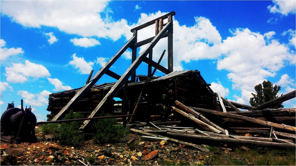 The remains of this old platinum mine stand at the crest of a small mountain near Centennial, Wyoming.