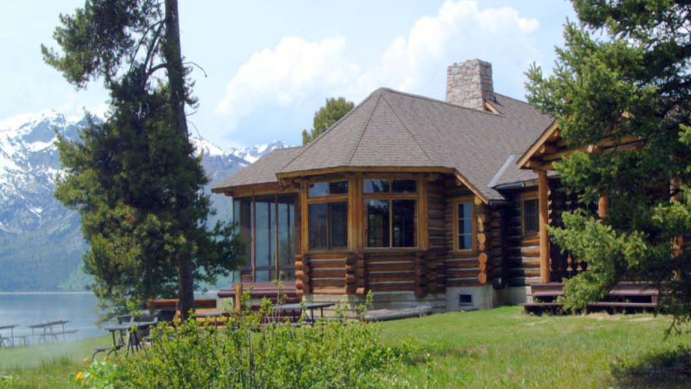 The Berol Lodge offers panoramic views of the Tetons from the shores of Jackson Lake