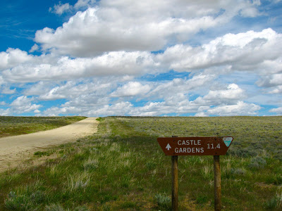 BLM sign points to the location of Castle Gardens