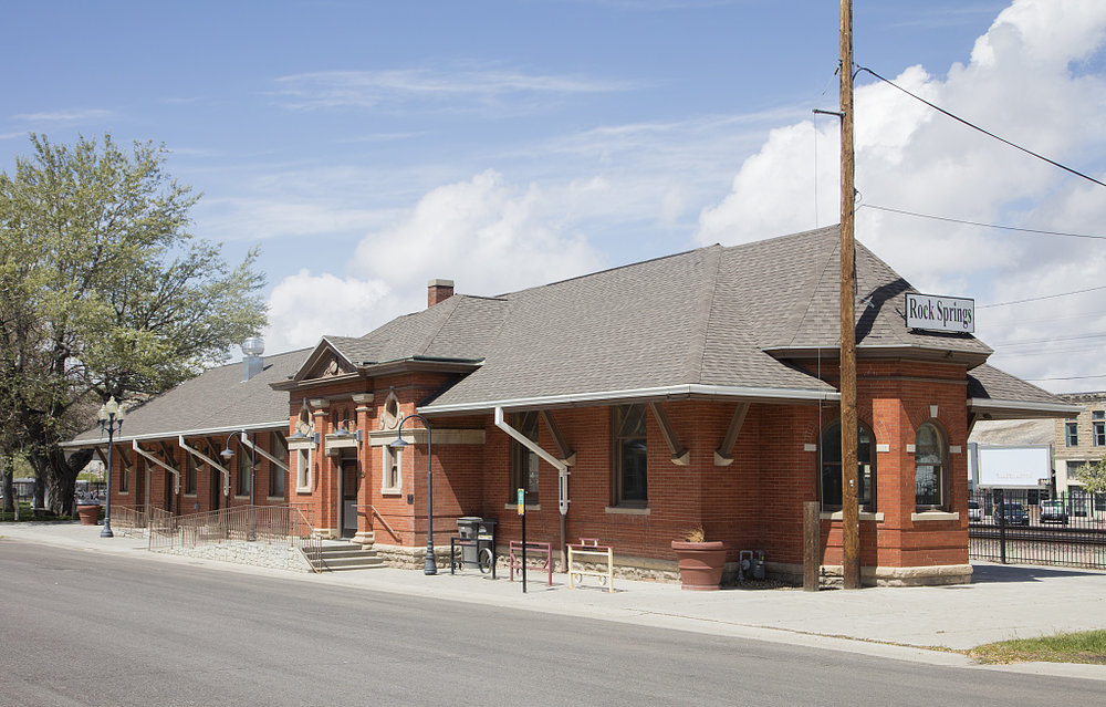 Photo credit: Highsmith, Carol M, photographer. Train Station in downtown Rock Springs, Wyoming. Rock Springs Sweetwater County United States Wyoming, 2016. -05-22. Photograph. Retrieved from the Library of Congress, https://www.loc.gov/item/2017688001/. (Accessed September 14, 2017)
