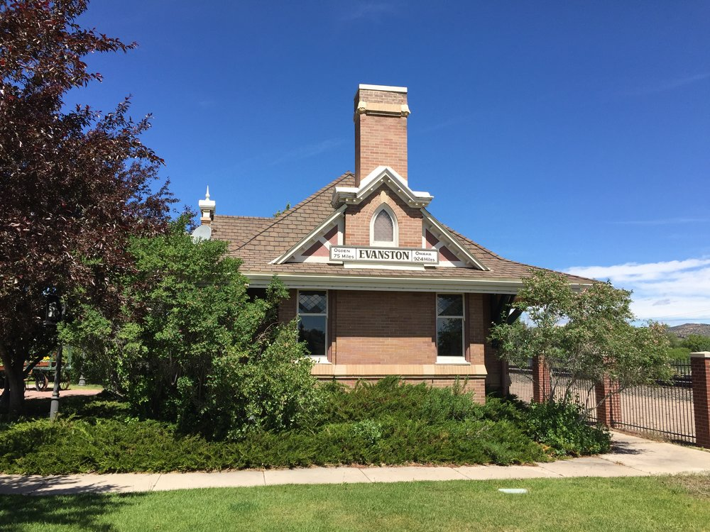 Evanston's distinctive historic railroad depot is another example of Wyoming's transportation-related historic resources