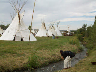 Teepee city at the edge of Fort Bridger Rendezvous