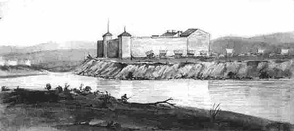 Ft. Laramie, 1849, sketch by James Wilkins. http://www.wyomingtalesandtrails.com/photosftlar.html