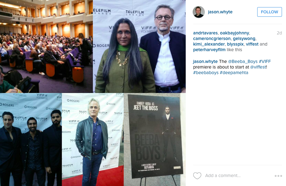 Steve Dhillon, Jag Bal and Paul Gross walked the #VIFF red carpet with Director Deepa Mehta, Producer David Hamilton and the rest of the #BeebaBoys cast.