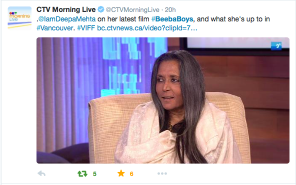 """  #BeebaBoys    is based on the Indo-Canadian gang warfare in the Lower Mainland."" -   @IamDeepaMehta     #VIFF"