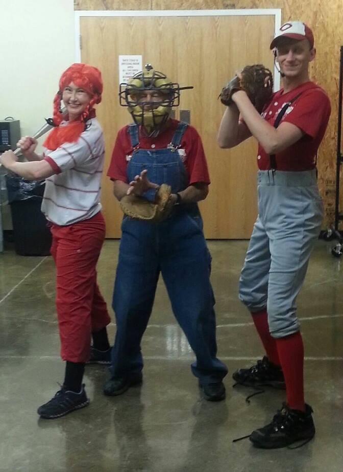 Baseball gear borrowed from Mr. Marion when Grandpa & Daisy prepared Otis to try out for the Cincinnati Reds! (You've probably noticed he is not on the official roster...)
