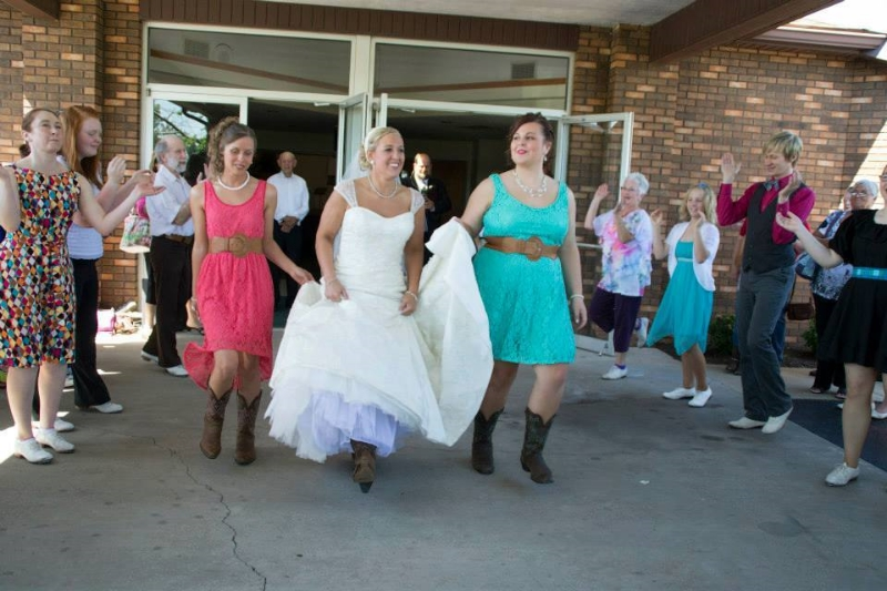 Clogging brides (and bridesmaids) are gorgeous!