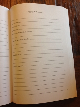 A look inside Clogger's Journal at the Clogging Performance pages.