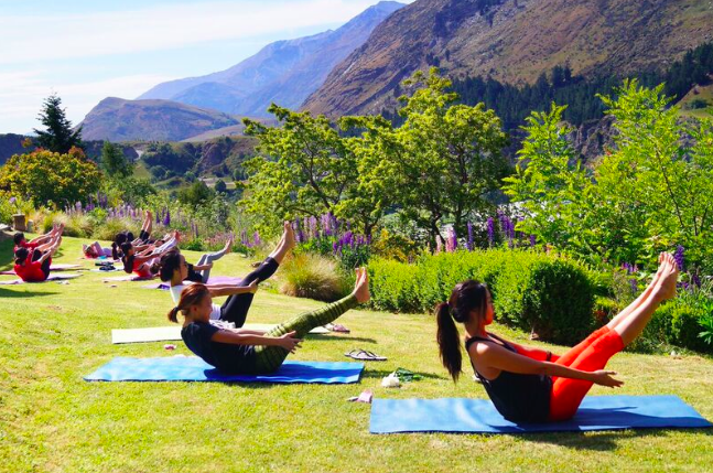 Pilates teaser at a healthy hens party in Queenstown