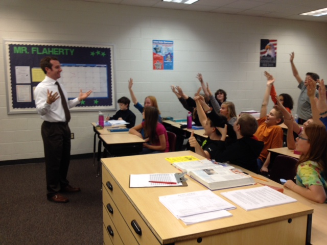Jay Flaherty teaches his 7th Grade government class at Dixon-Smith Middle School in Stafford County, VA.