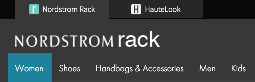 Nordstrom Rack Desktop Navigation with site-to-site tabs.