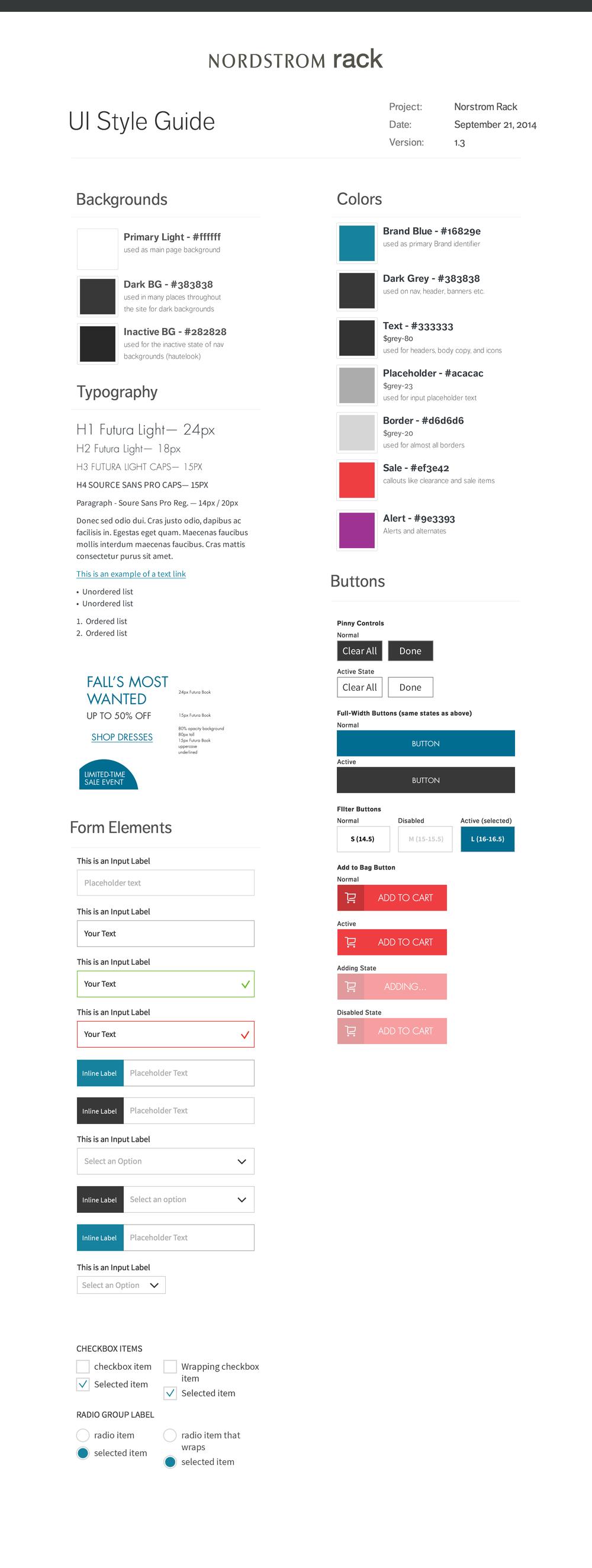 Nordstrom Rack UI Styleguide