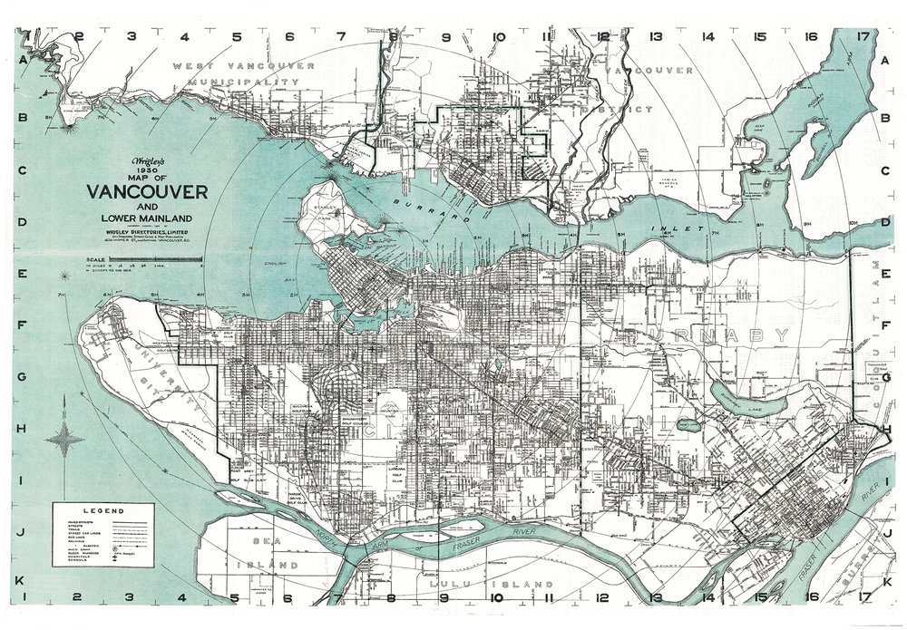 Vancouver, BC - Wrigley's 1930 Map of Vancouver, and Lower Mainland. - Open Image in a new window