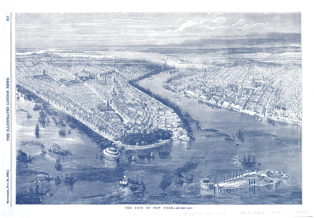 New York City, NY - City of New York Cartographic Illustration from the Illustrated London News. Open image in a new window