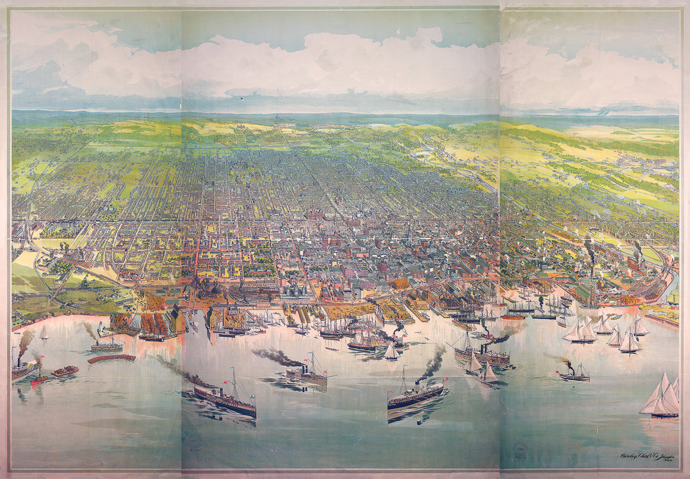 Toronto, ON -  Bird's-eye view, looking north from harbor to north of Bloor St. and some points beyond, from Humber R. on the west to Victoria Park Ave. on the east.  - Barclay, Clark & Co. Open image in a new window