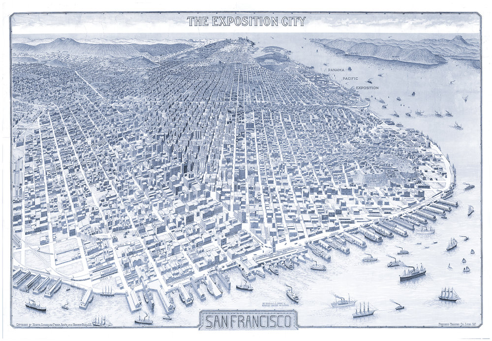 "San Francisco, CA - Panama Pacific Exposition map of San Francisco ""The Exposition City"". Open image in a new window"