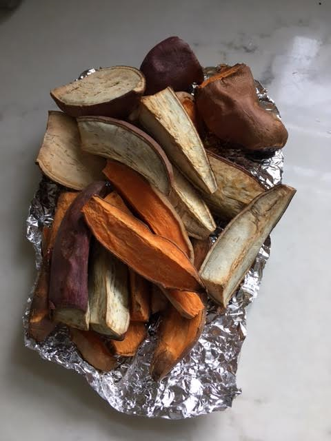 3 Variations of sweet potatoes I eat...all organic, and cut in wedges for easy snacking! I typically always buy them from Whole Foods.