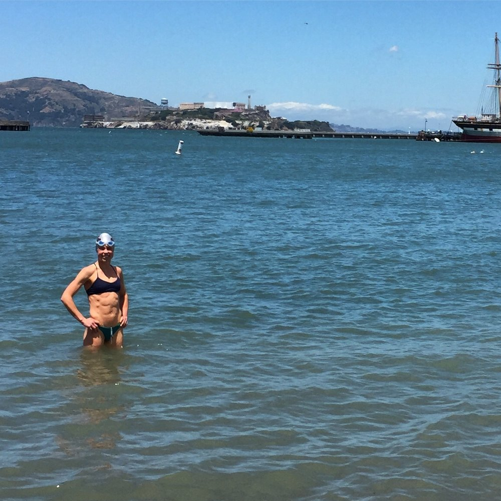 Taking a swim on Friday at aquatic park right in front of Ghiradhelli Square, with Alcatraz in the background. After a lot of build up about how cold the water was out here, I decided to be like a local and take a swim without my wetsuit! I figured if I could get in without it before the race, Id certainly feel fine on race day. Got in about 30 min no problem.!