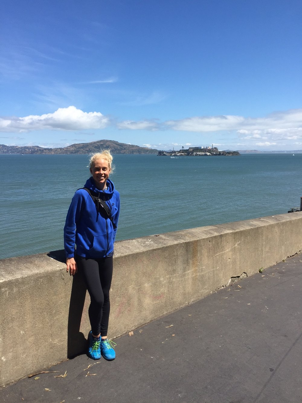 Ending out our 12 mile day of walking through the streets of San Fran! There was a park we walked through with great views above the bay. This is me with Alcatraz Island in the background!