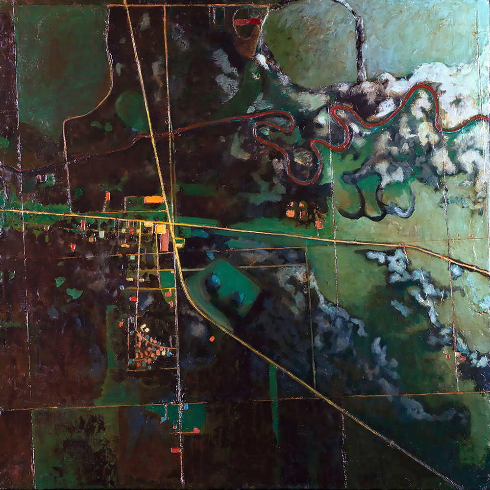 "Midwest Composition #3: The Mississippi River Tributary.   Encaustic on Canvas.  40"" x 40"".  May 2014."