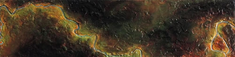 "The Headwaters of the Mississippi .  Encaustic on Panel.  5"" x 16"".  February 2015."
