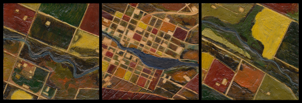 "The Black River Medford, WI.  Triptych. Encaustic on Panel. Each Panel 5"" x 5"". October 2015."