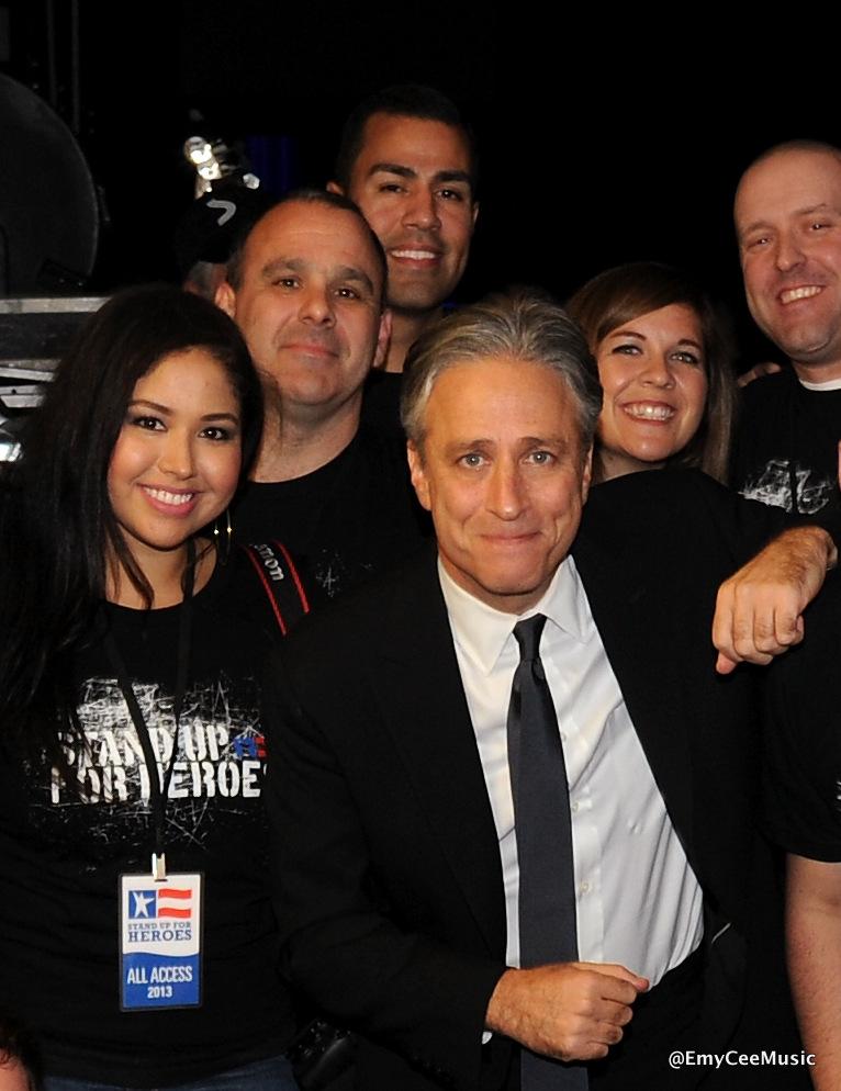 Emy Cee with Jon Stewart