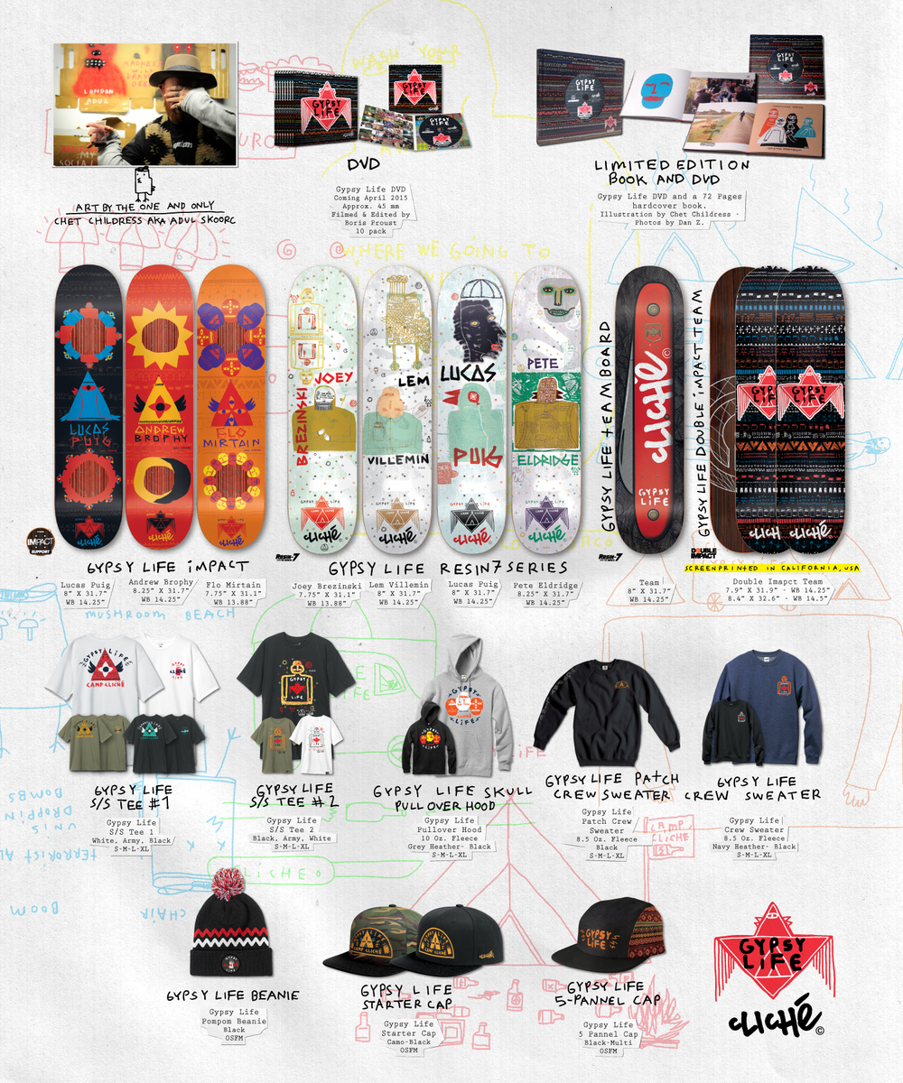 cliche_Skateboards_Gypsy_Life_video_decks_tees_sweater_hats