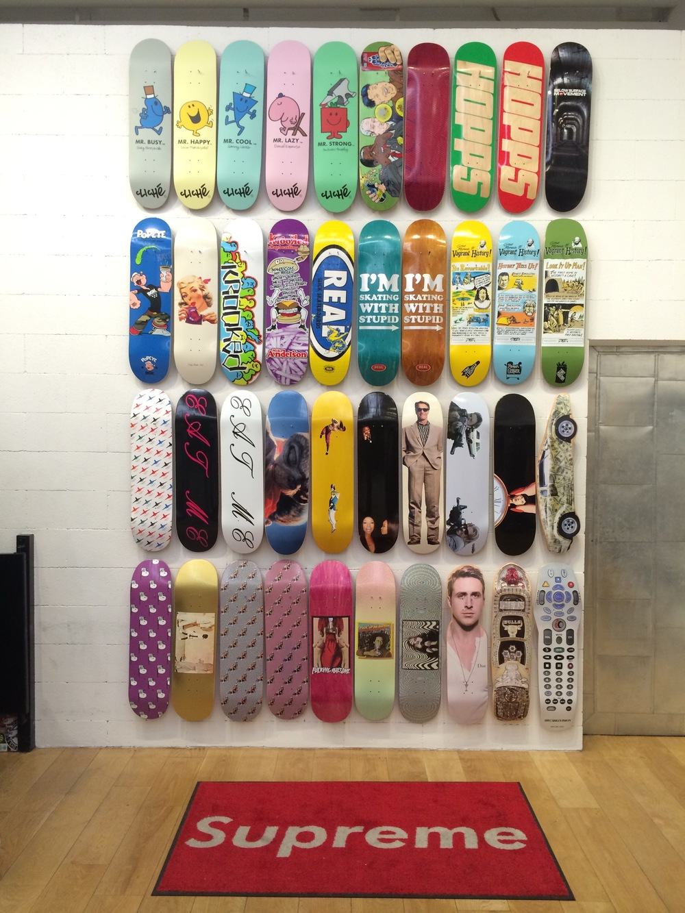 The Mr Men pro series and the Jenkem collab board available from Supreme, NYC.