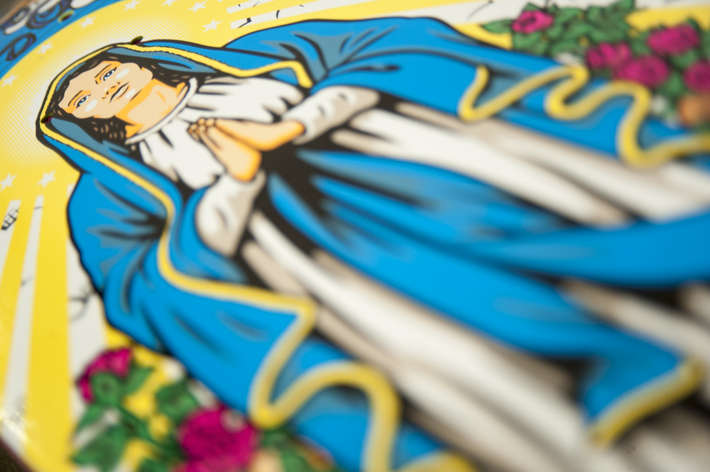 lucas puig virgin mary 101 tribute detail 2 cliche skateboards